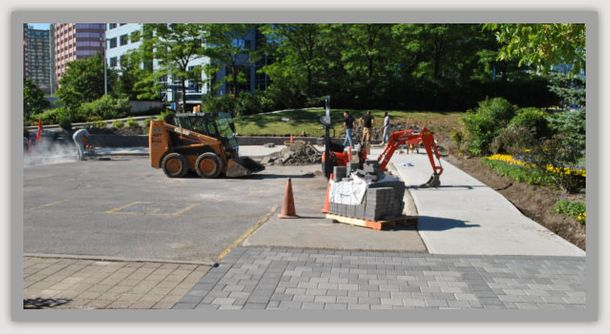 rebuilding road and sidewalk in plaza